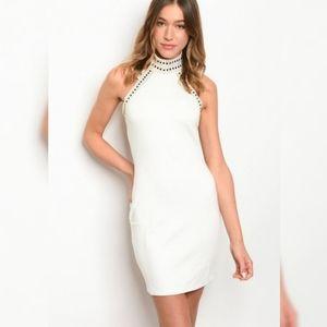Lady In White Halter Dress Stones Bodycon